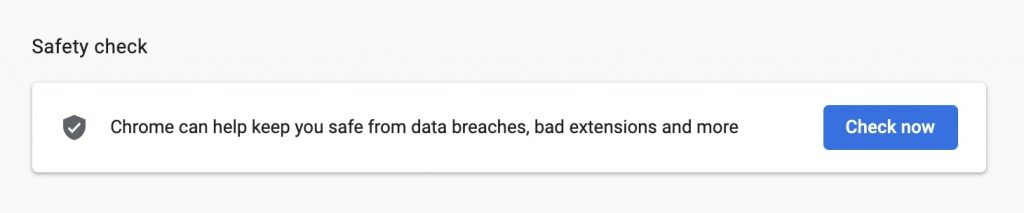 Perform Safety Check in Chrome