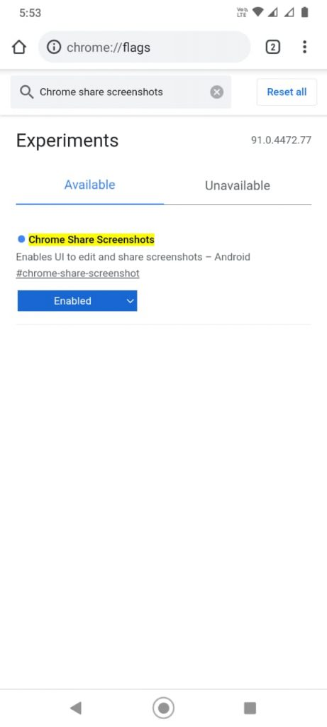 Enable Chrome Screenshot Tool on Android