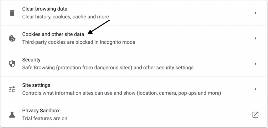 Disable Cross Website Tracking in Chrome