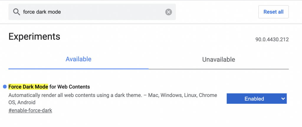 Force Dark Mode For Web Contents