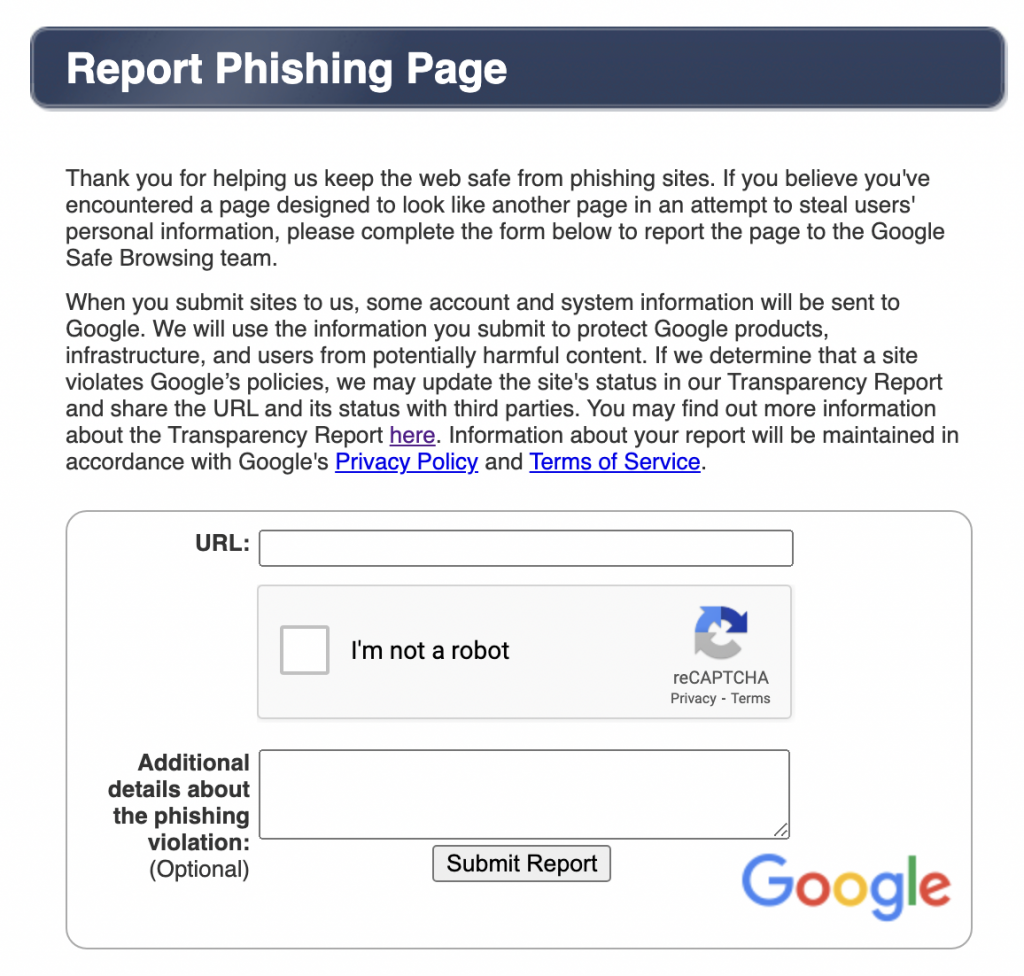 Report Phishing Website Page to Google