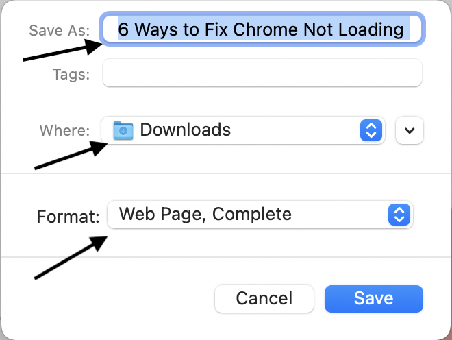 Download Webpage in Google Chrome PC