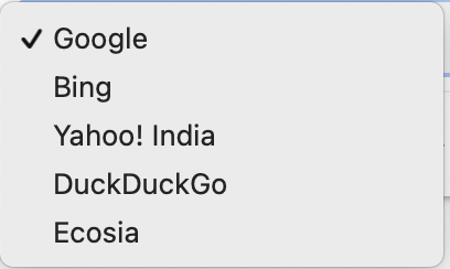 Different search engines in Google Chrome