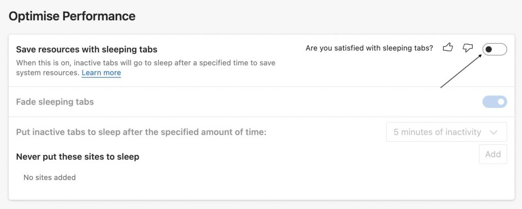 Turn off the toggle Save resources with sleeping tabs
