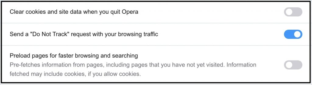 Turned on Do Not Track in Opera