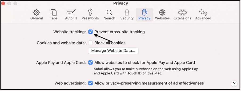 Enable website tracking