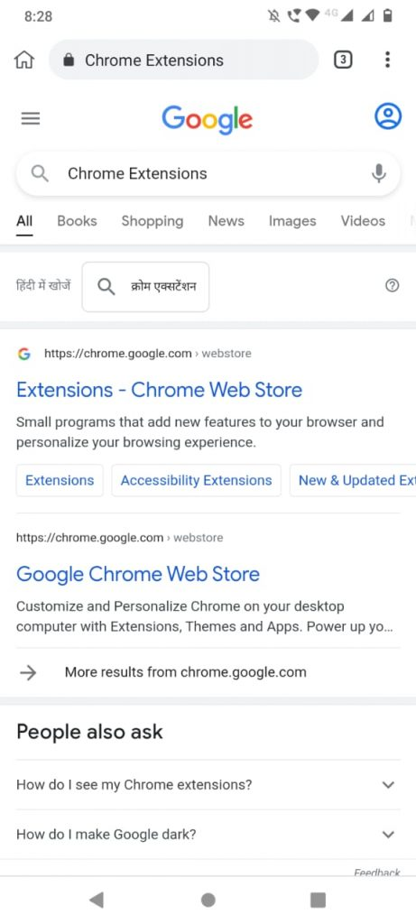 Chrome Extensions Google search