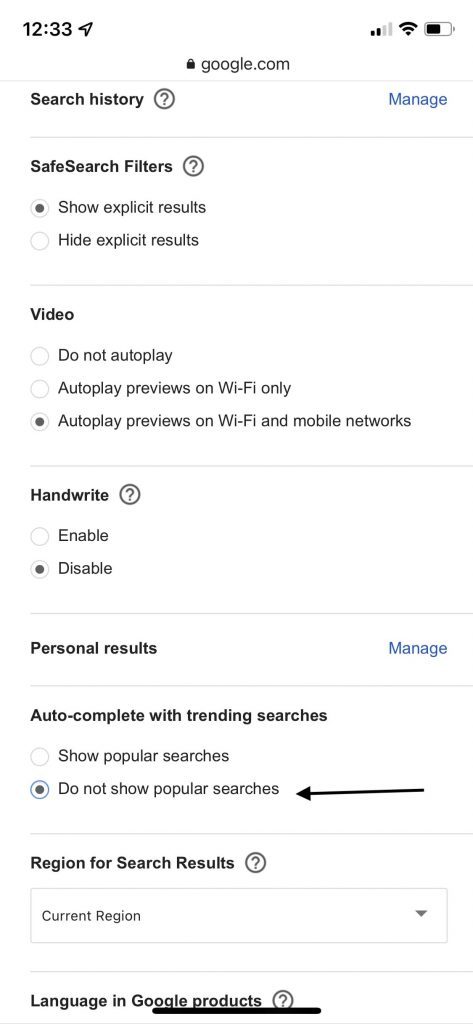 Do not show trending searches