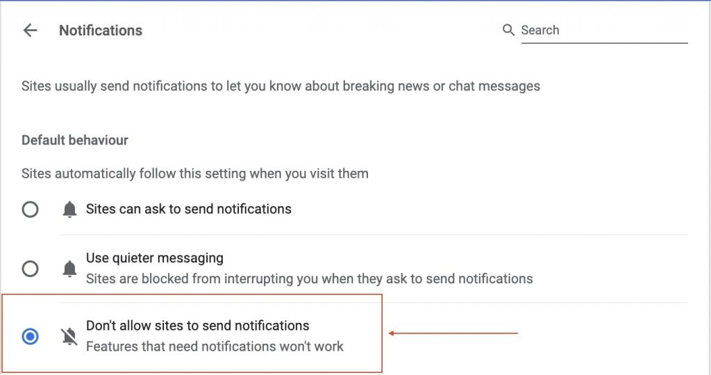Don't allow sites to send notifications