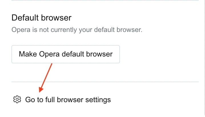Go to full browser settings