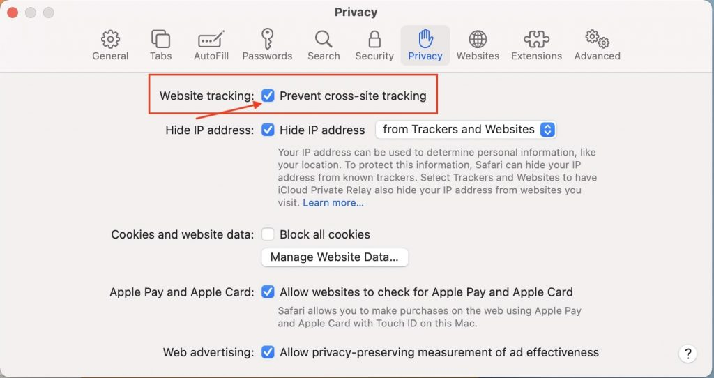 Disable Cross Website Tracking in Safari Browser