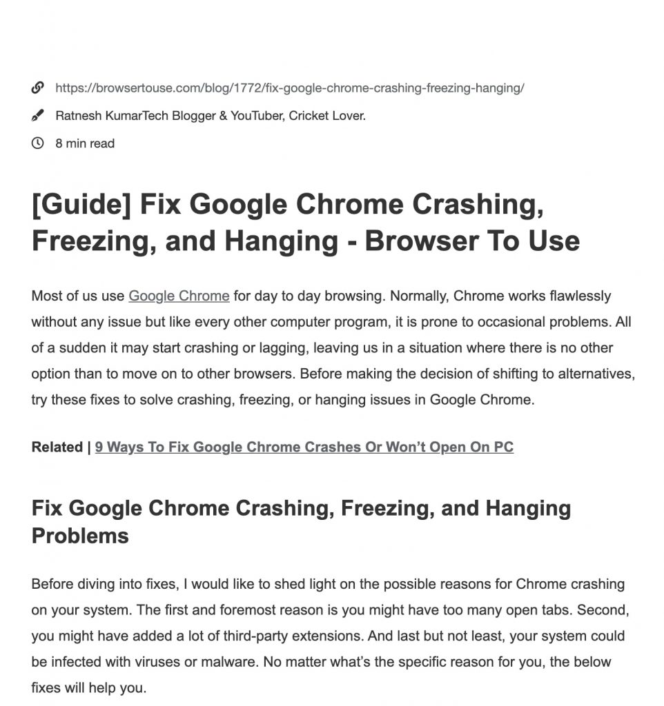 Reader Mode Extension in Chrome