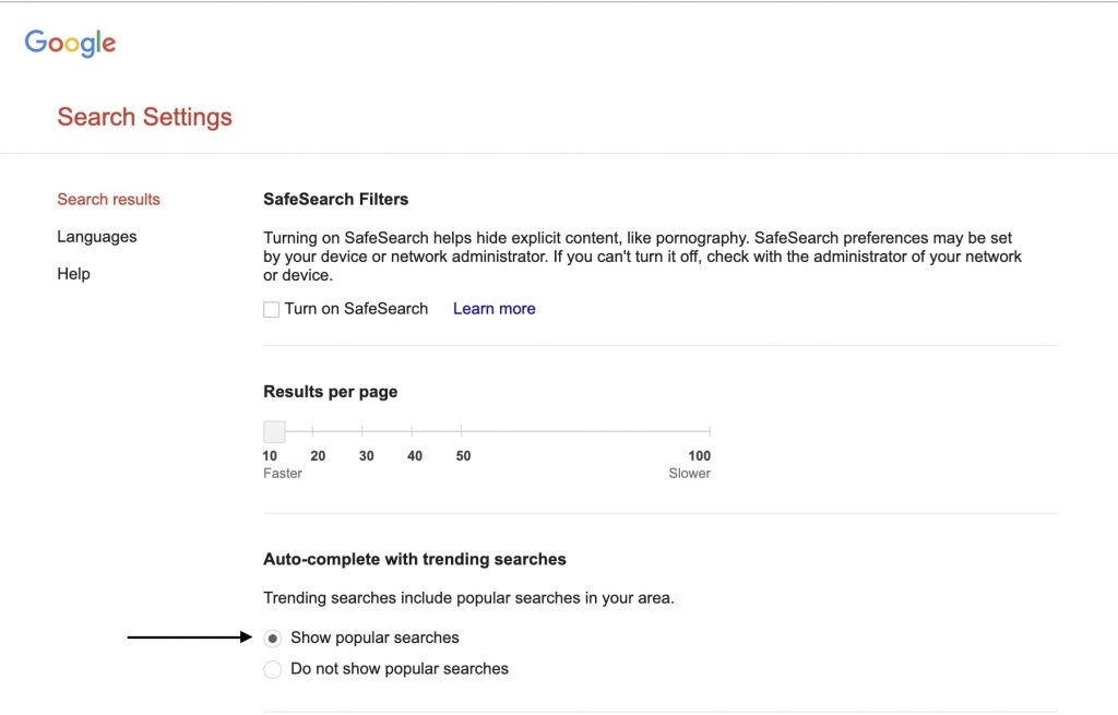 Turn Off Trending Searches in Google   Chrome