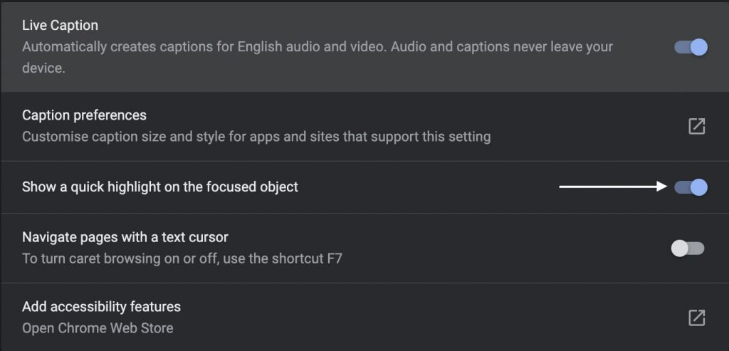 Disable Quick Focus Highlight in Chrome
