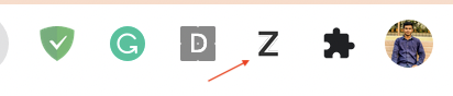 Z icon in extension bar