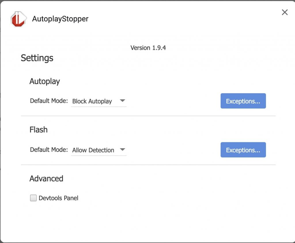 AutoPlayStopper Settings