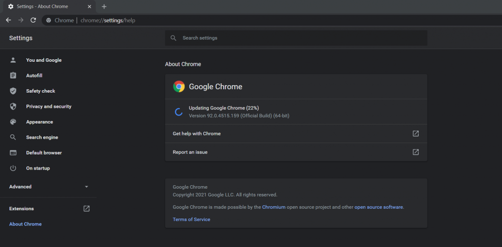 Update Chrome to fix Chrome version is no longer supported